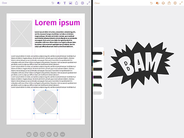 Adobe Comp links en Adobe Draw rechts op de iPad Pro everlearn