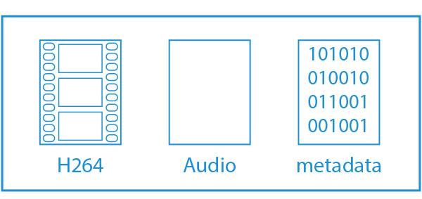 Eenvoudige weergave van een AVCHD container-bestand met video, audio en metadata | everlearn