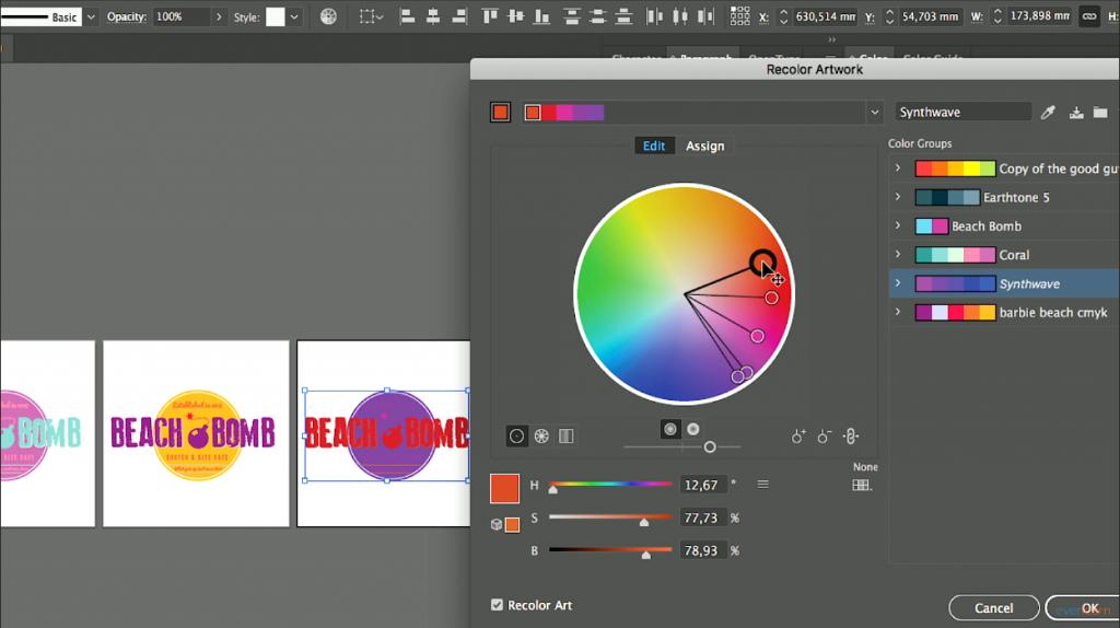 De Recolor artwork functie in Adobe Illutsrator | everlearn