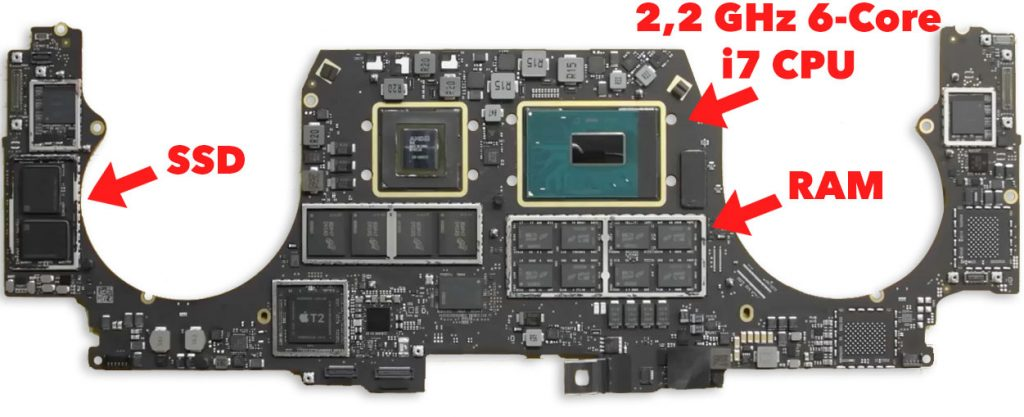 Het moederbord van een Macbook Pro uit 2018. Met de verschillende onderdelen gesoldeerd op het moederbord. Dit zorgt ervoor dat deze niet op te waarderen zijn. everlearn